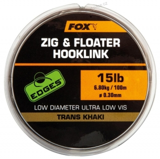 Fox Edges Zig & Floater 0,30mm 6,8kg 100m Hooklink Trans Khaki