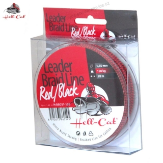SPLÉTANÁ ŠŇŮRA HELL-CAT - LEADER BRAID LINE RED/BLACK 20M|0.90MM/75KG