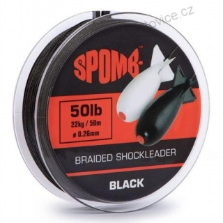 Spomb Splétaná Šňůra Shock Braided Leader Black 50 m - 0,26 mm - 22 kg